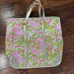 Lilly Pulitzer gold metallic beach  tote